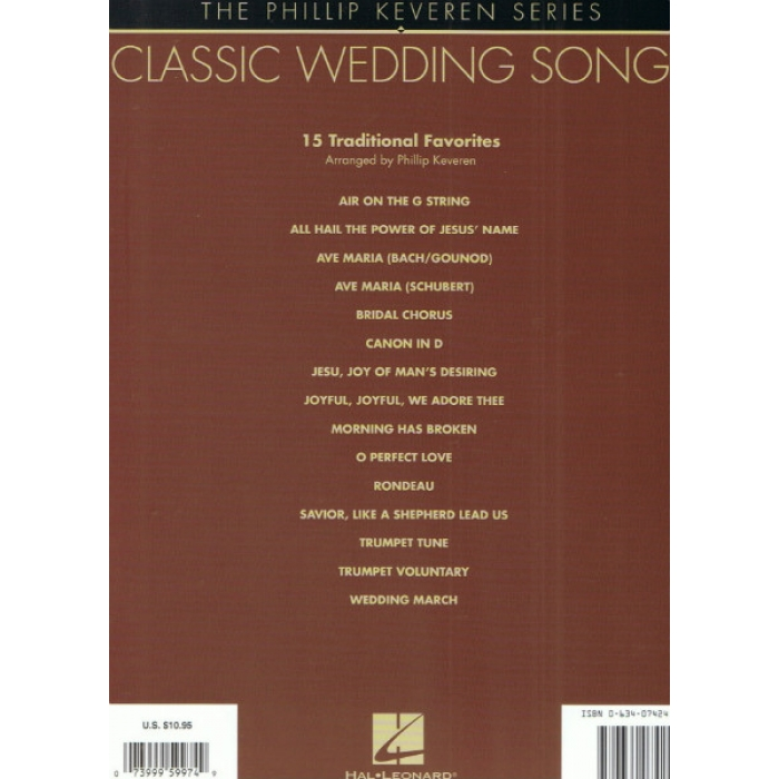 Classic Wedding Songs The Phillip Keveren Series Piano Solo