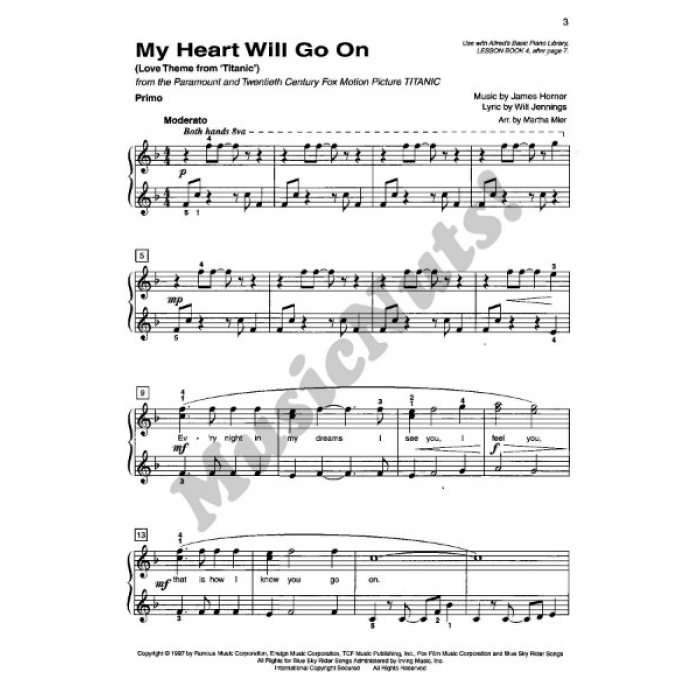All Music Chords my heart will go on sheet music : Basic Piano Library Top Hits! Duet Book Level 4