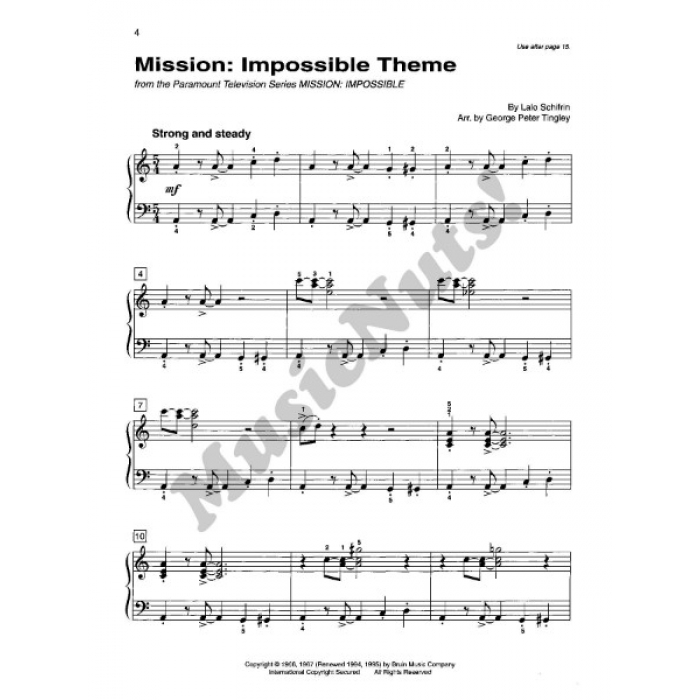 Piano mission impossible piano sheet music : Basic Piano Library Top Hits! Solo Book Level 4