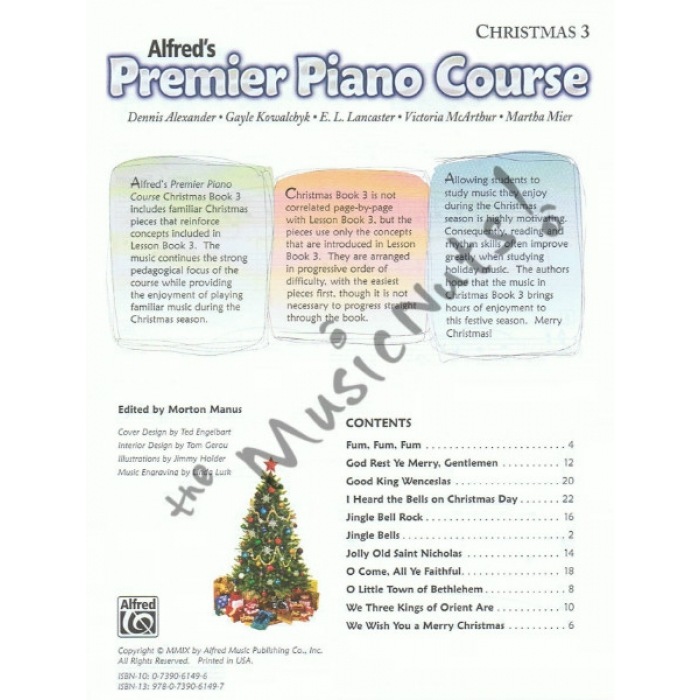 Alfred S Premier Piano Course Christmas 3