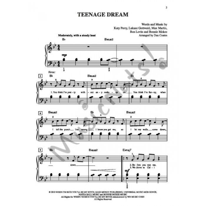 Teenage Dream Recorded By Katy Perry On Capitol Records Easy Piano